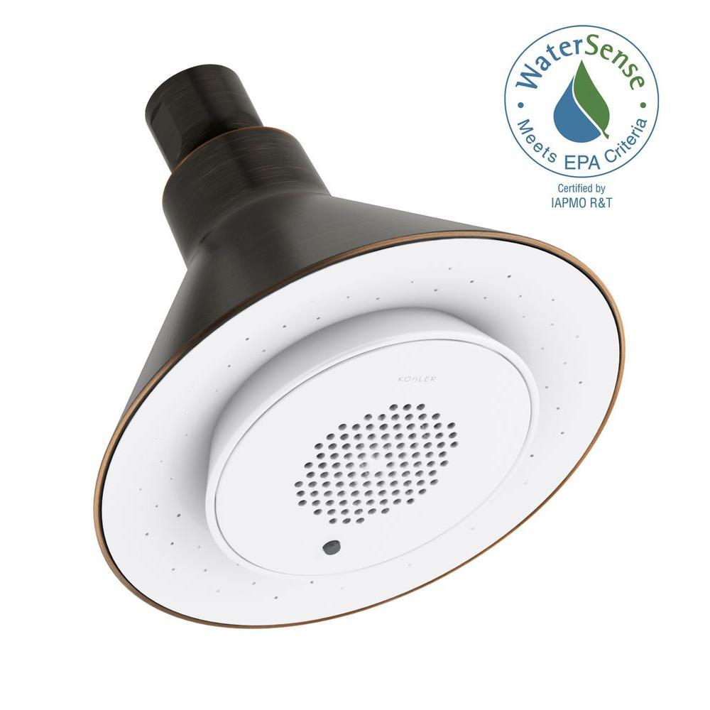 KOHLER Moxie 1-Spray 5 in. Showerhead with Wireless Speaker in Oil-Rubbed Bronze