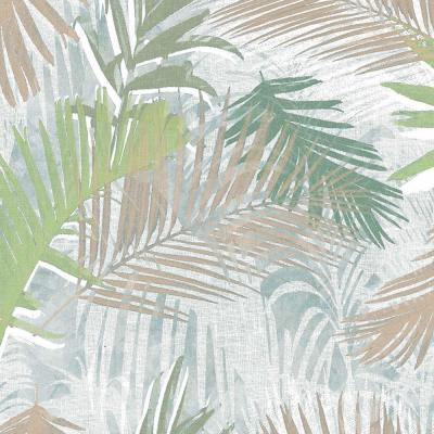 Jungle Glam Green, White and Taupe Removable Wallpaper Sample