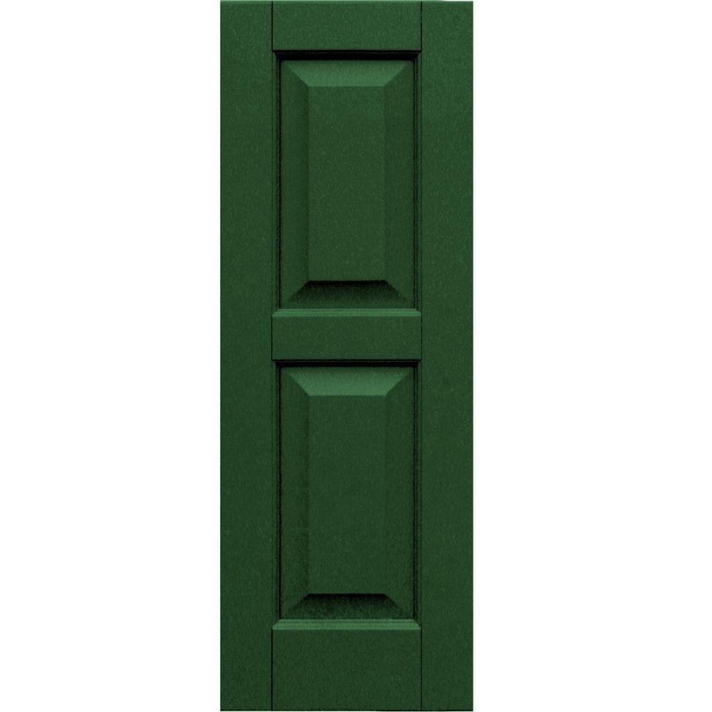 Winworks Wood Composite 12 in. x 34 in. Raised Panel Shutters Pair #656 Rookwood Dark Green