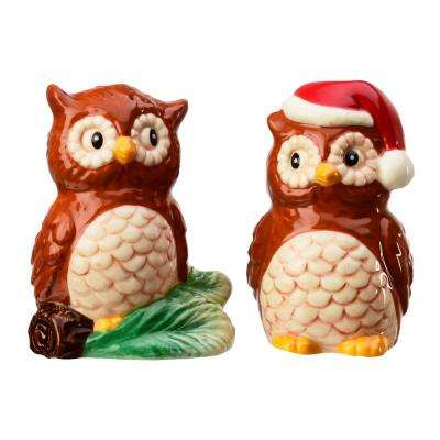 Season Christmas Owls 1.5 oz. Brown Ceramic Salt and Pepper Shakers with Figural Shapes