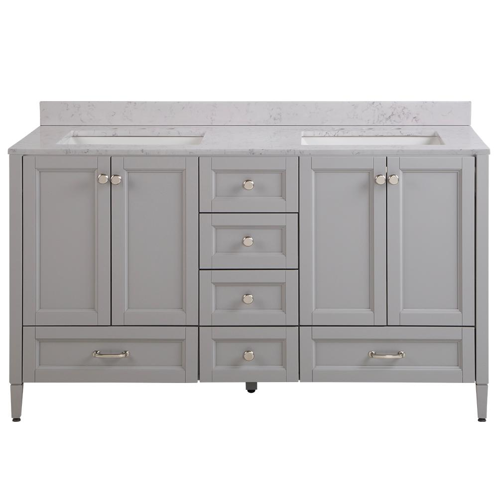 Home Decorators Collection Claxby 61 in. W x 22 in. D Bathroom Vanity in Sterling Gray with Stone Effect Vanity Top in Pulsar with White Sink