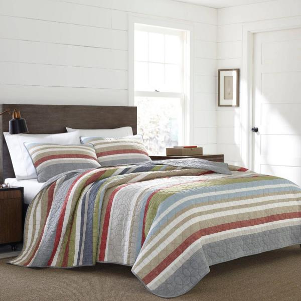 Salmon Ladder 3-Piece Multicolored Striped King Quilt Set
