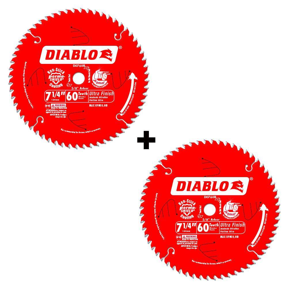 Diablo 7-1/4 in. x 60-Tooth Ultra Fine Finish Saw Blade (2-Pack)