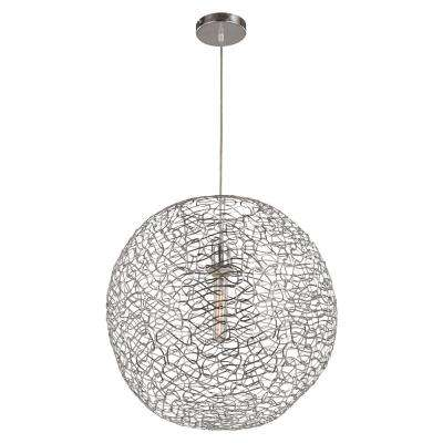 Orbweave 1-Light 31 in. Chrome Indoor Elongated Pendant