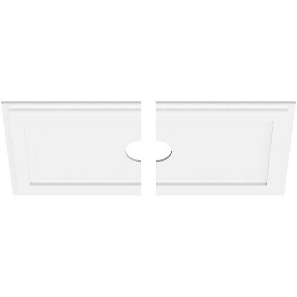 Ekena Millwork 34 In W X 17 In H X 4 In Id X 1 In P Rectangle Architectural Grade Pvc Contemporary Ceiling Medallion 2 Piece 192770573027 The Home Depot