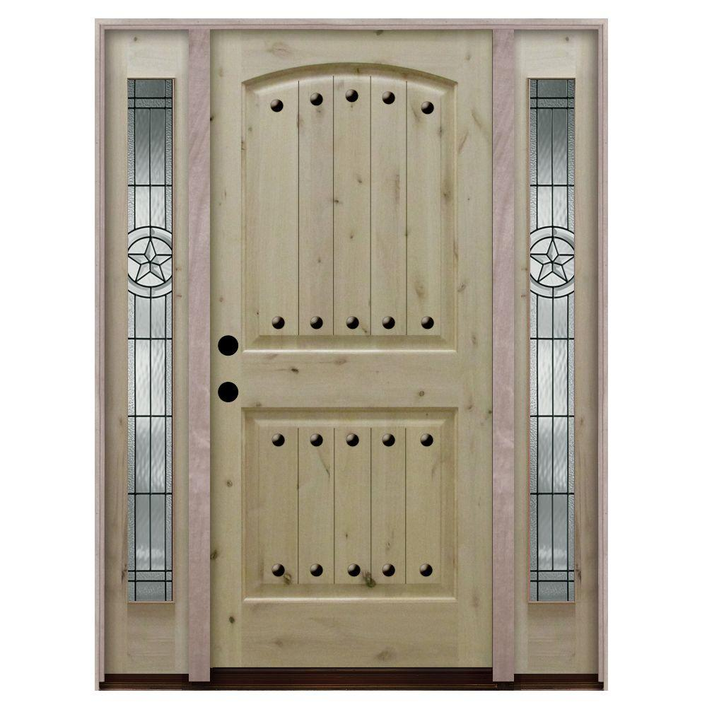 Steves & Sons Rustic 2-Panel Plank Unfinished Knotty Alder Wood Prehung Front Door with Sidelites-DISCONTINUED