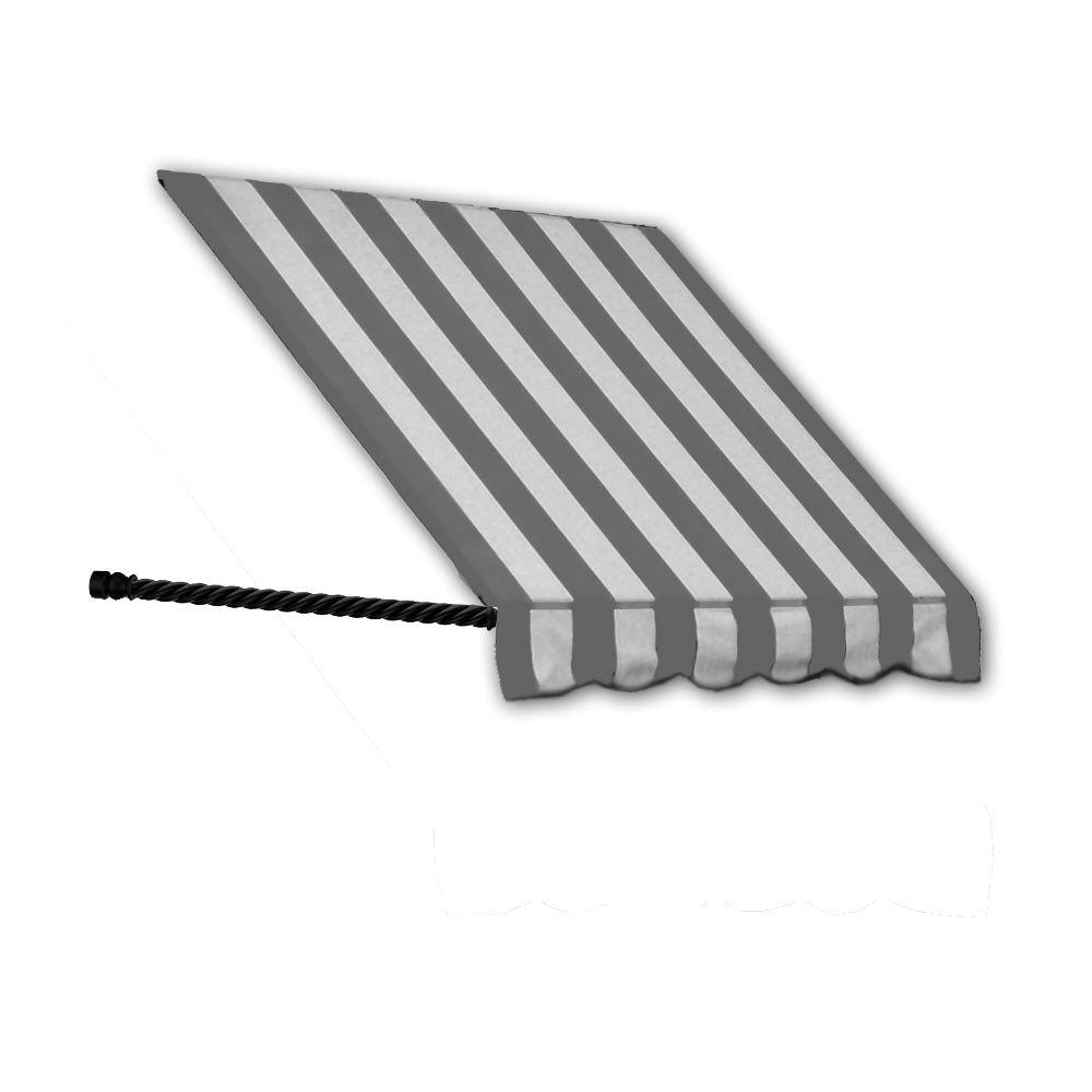 AWNTECH 10 ft. Santa Fe Twisted Rope Arm Window Awning (56 in. H x 36 in. D) in Gray/White Stripe