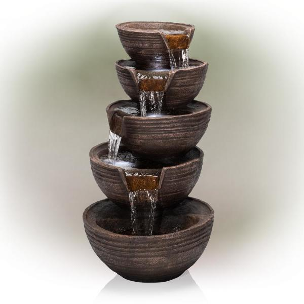 34 in. Tall Outdoor 5-Tier Modern Bowl Cascading Waterfall Fountain with LED Lights