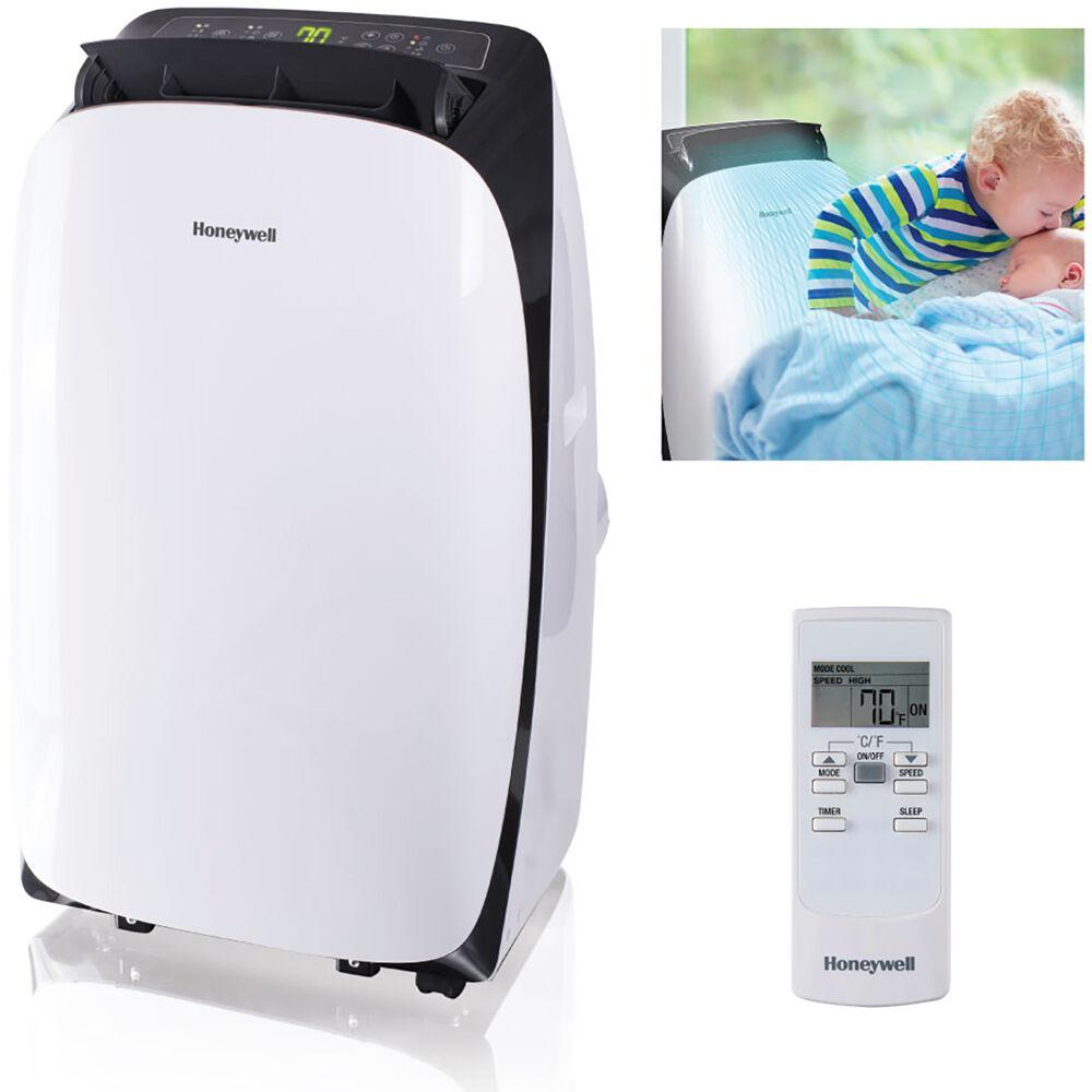 Honeywell Hl Series 10 000 Btu 115 Volt Portable Air Conditioner With Dehumidifier And Remote Control In White And Black Hl10ceswk The Home Depot
