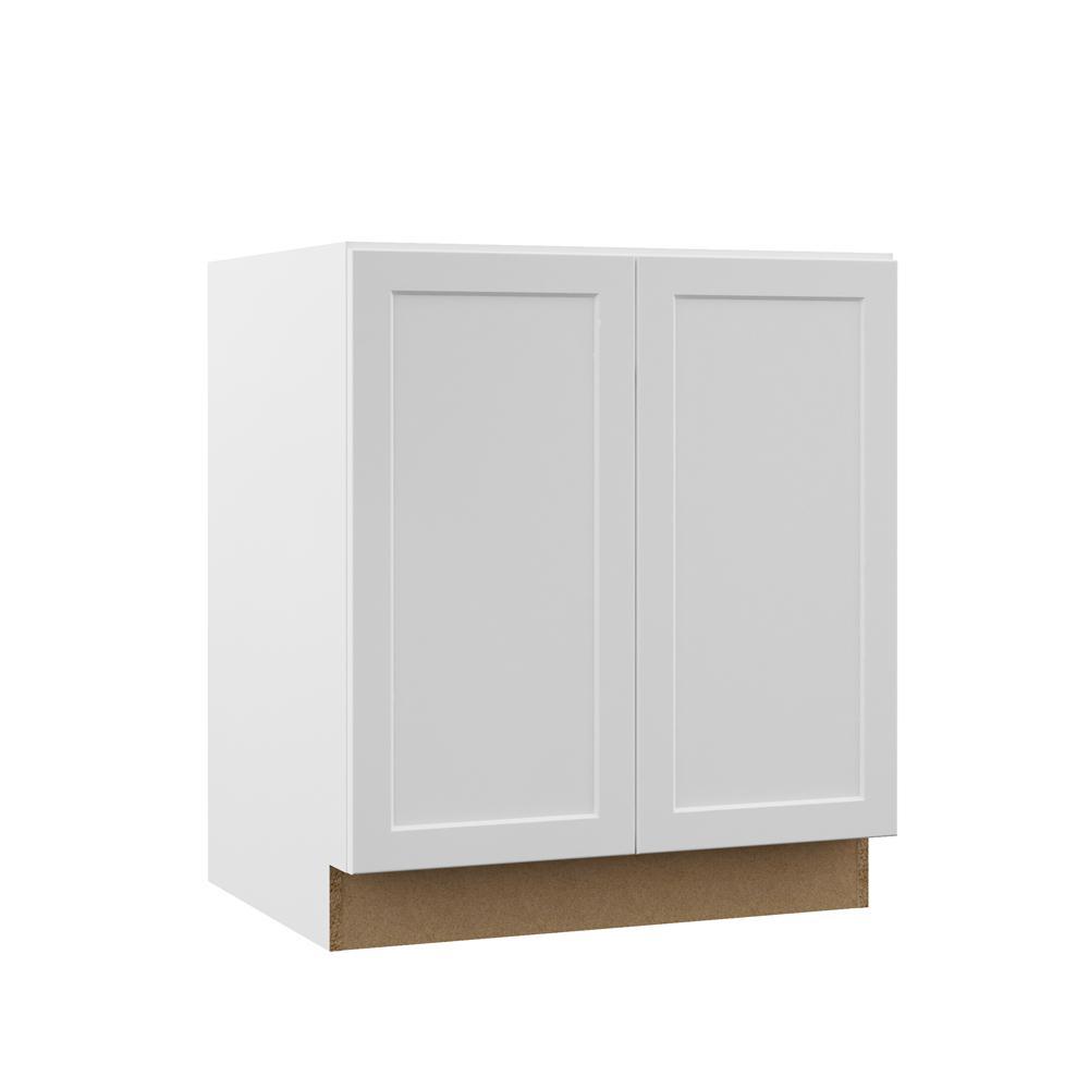 Hampton Bay Designer Series Melvern Assembled 30x34.5x21 in. Full Door Height Bathroom Vanity Base Cabinet in White