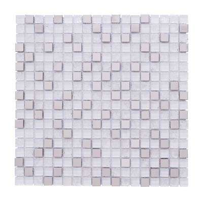 Terrazas Micro Squares Super White 12 in. x 12 in. x 6mm Glass Steel and Stones Mosaic Tile