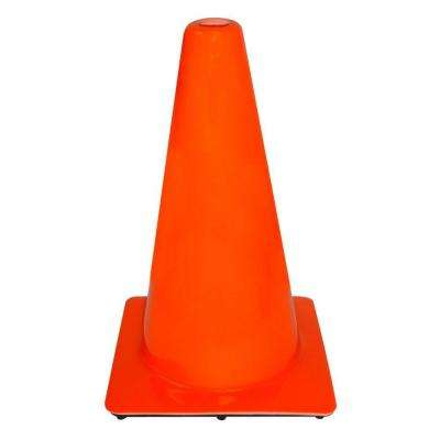 18 in. Orange PVC Non Reflective Traffic Safety Cone (Case of 10)