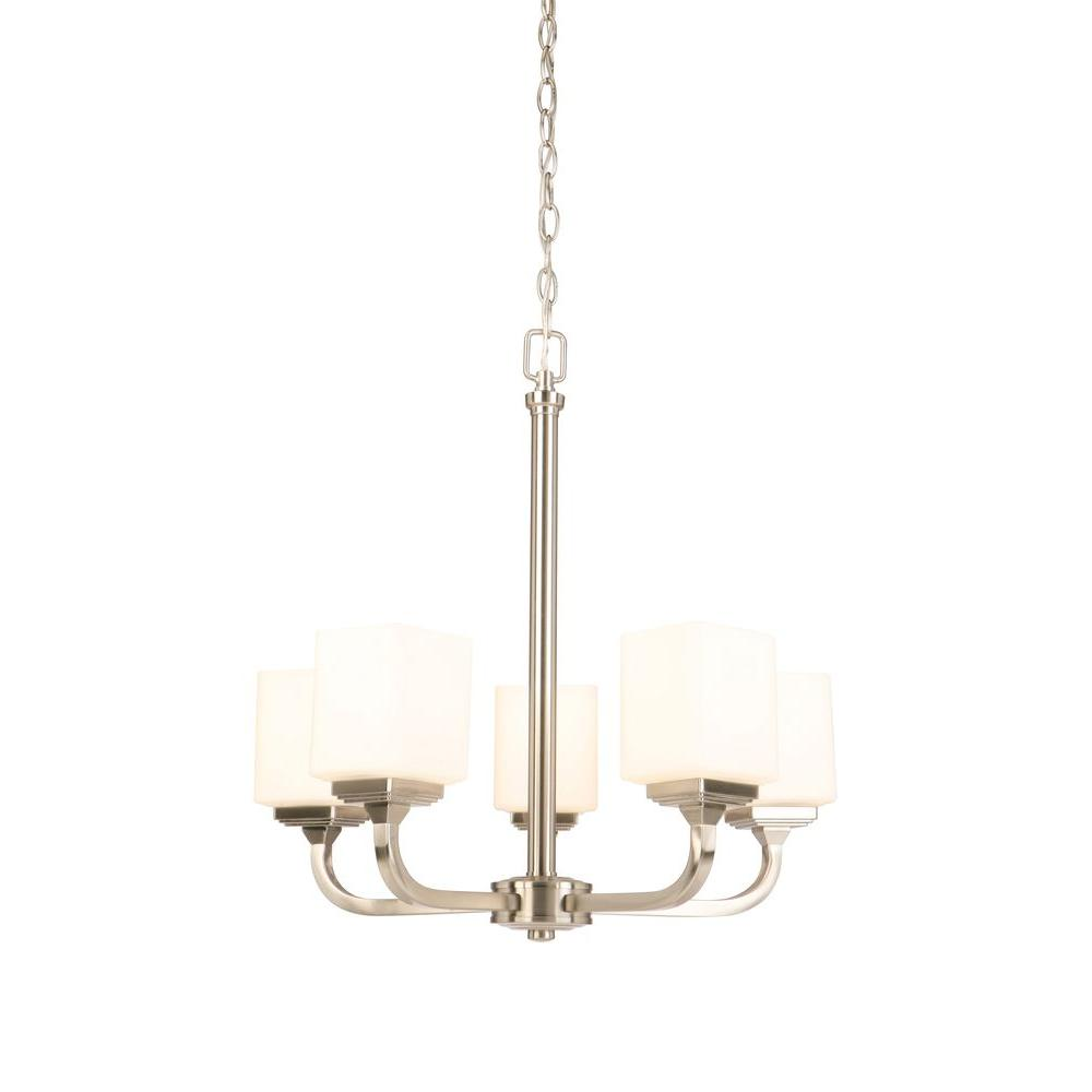 Hampton Bay 5 Light Brushed Nickel Chandelier With Frosted Glass Shades