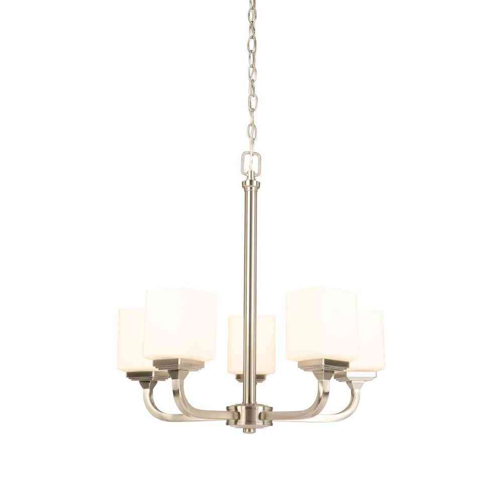 Hampton Bay 5-Light Brushed Nickel Chandelier with Frosted Glass - Sale: $49.00 USD (62% off)