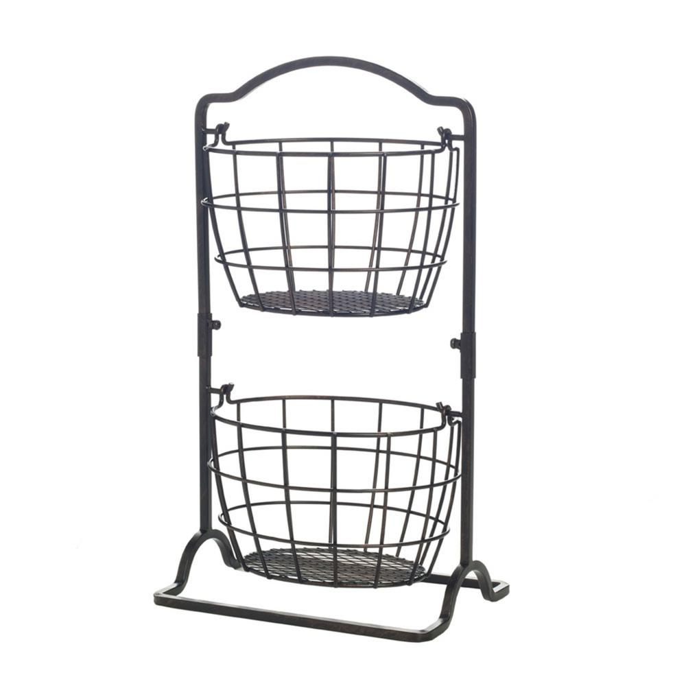 Brand New Home Basics 3-Tier Wire Hanging Basket Black