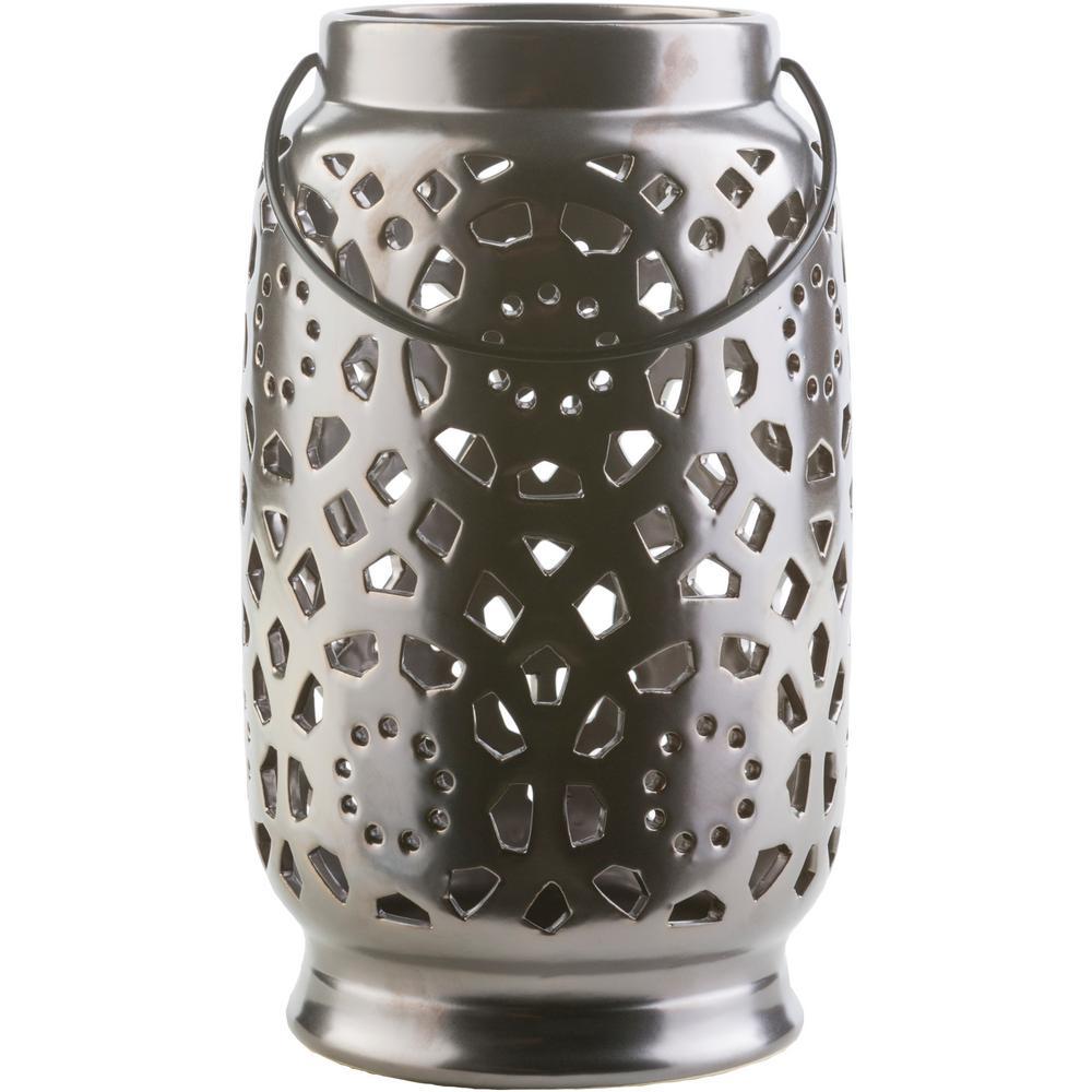 Kimba 11 in. Black Ceramic Lantern