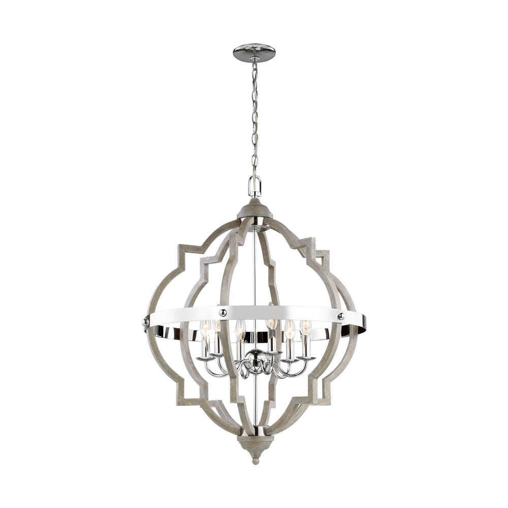 Sea Gull Lighting Socorro 25 in. W 6-Light Washed Pine and Chrome Accents Hall-Foyer Quatrefoil Pendant with Dimmable Candelabra LED Bulb