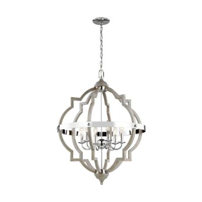 Socorro 25 in. W 6-Light Washed Pine and Chrome Accents Hall-Foyer Quatrefoil Pendant with Dimmable Candelabra LED Bulb