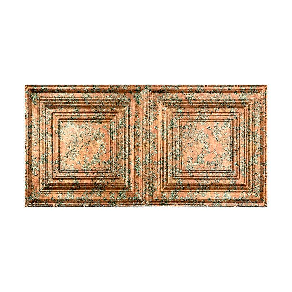 Fasade Traditional 3 2 Ft X 4 Ft Glue Up Vinyl Ceiling Tile In Copper Fantasy 40 Sq Ft Pg5211 The Home Depot