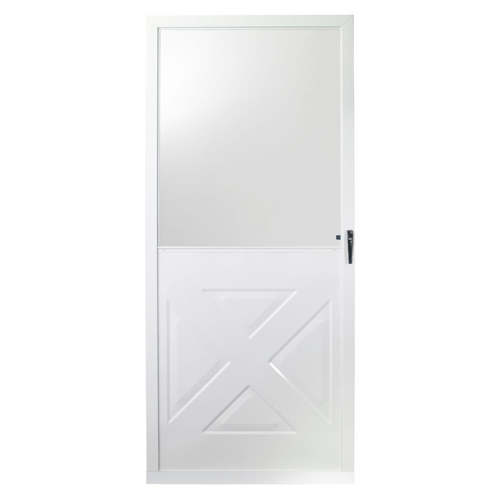 EMCO 36 in. x 80 in. 75 Series White Crossbuck Storm Door-E75XB ...