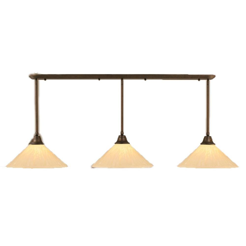 Filament Design Concord 3 Light 16 in. Bronze and Antique Ivory Glass Pendant