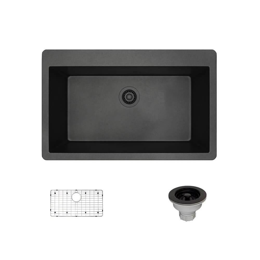 Drop-In Composite Granite 33 in. Single Basin Kitchen Sink in Carbon