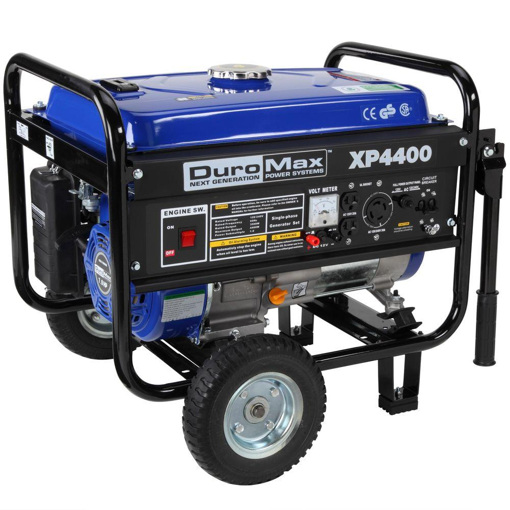 DUROMAX 4,400-Watt Gasoline Powered Manual Start Portable Generator with Wheel Kit