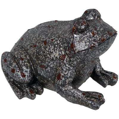 8 in. Weathered Garden Frog Statue, Outdoor Decorative Lawn Ornament and Yard Sculpture