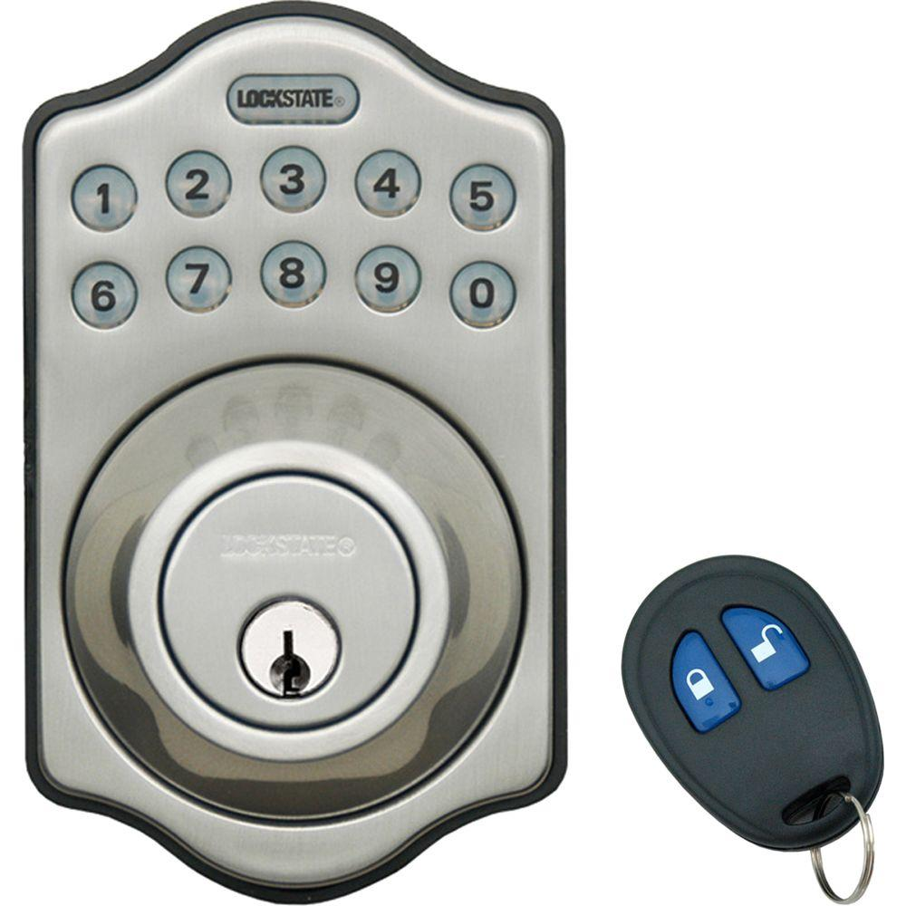 home depot front door locksLockState Electronic Keyless Deadbolt Lock with Remote Satin
