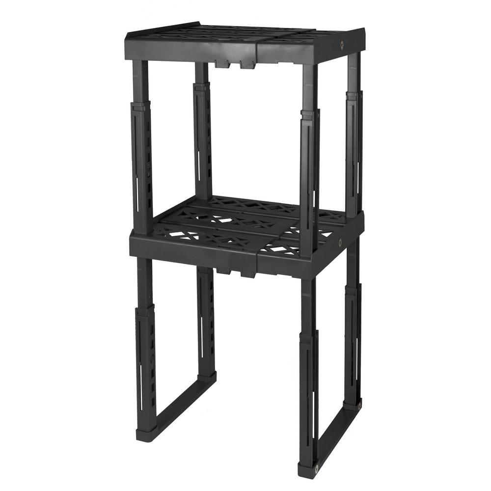 12 in. W x 14 in. H x 10 in. D Black Adjustable Locker Shelf (2-Pack)