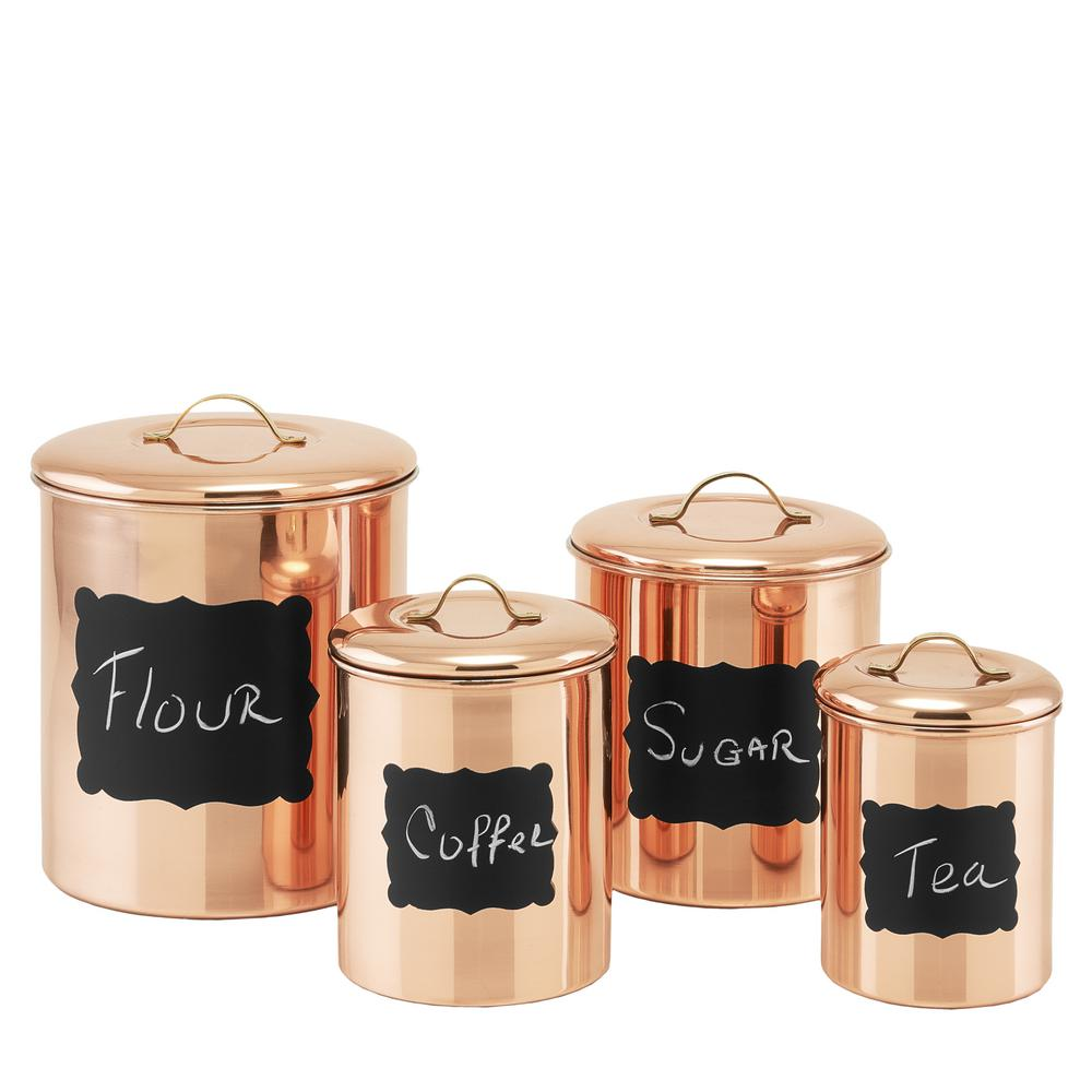 Old Dutch Decor Copper Chalkboard Canister Set (4-Piece)-1143 - The ...