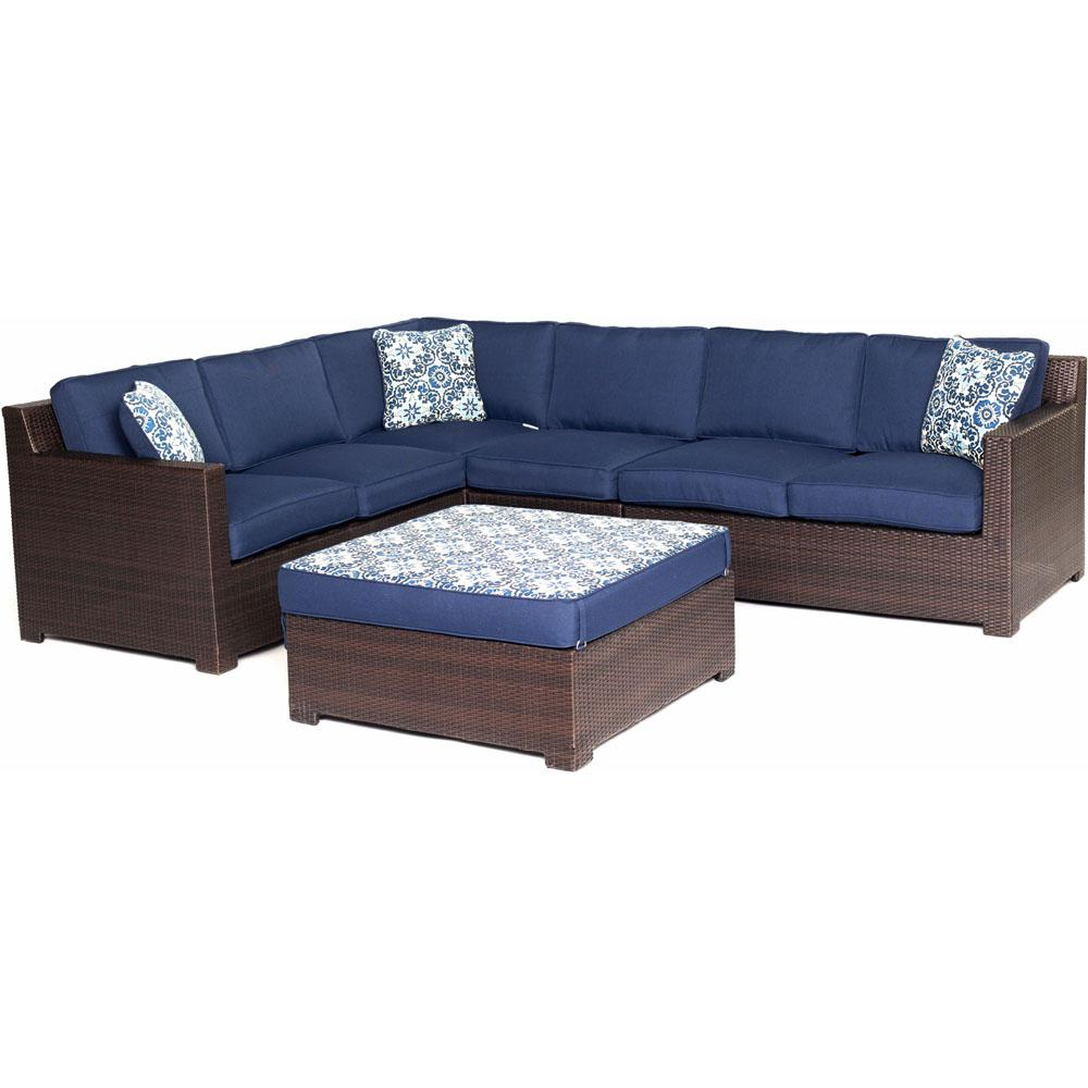 Metropolitan Brown 5-Piece Aluminum All-Weather Wicker Patio Seating Set with