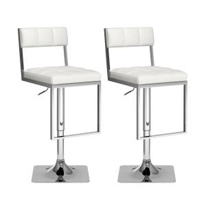 Remarkable Corliving 43 In H Adjustable White Leatherette Square Pabps2019 Chair Design Images Pabps2019Com