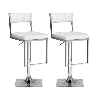 43 in. H Adjustable White Leatherette Square Tufted Swivel Bar Stool (Set of 2)