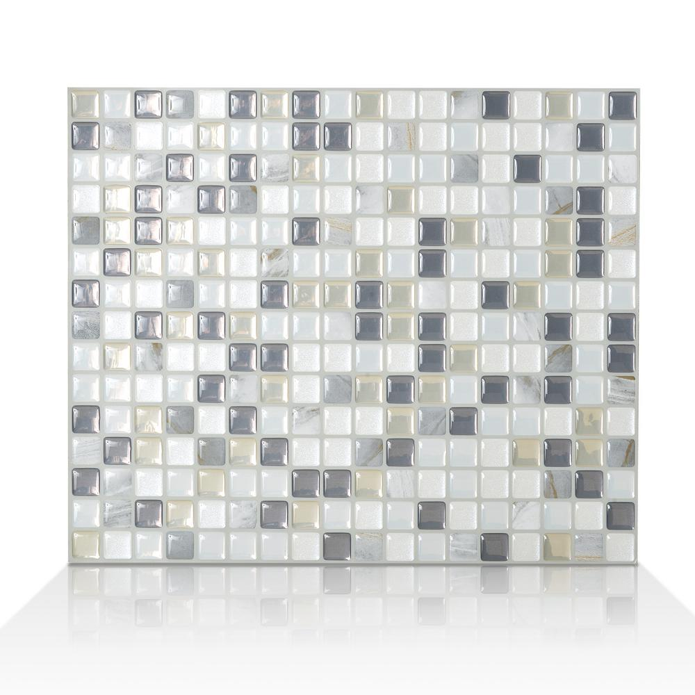 smart tiles minimo noche in w x in h peel and stick self adhesive decorative mosaic. Black Bedroom Furniture Sets. Home Design Ideas