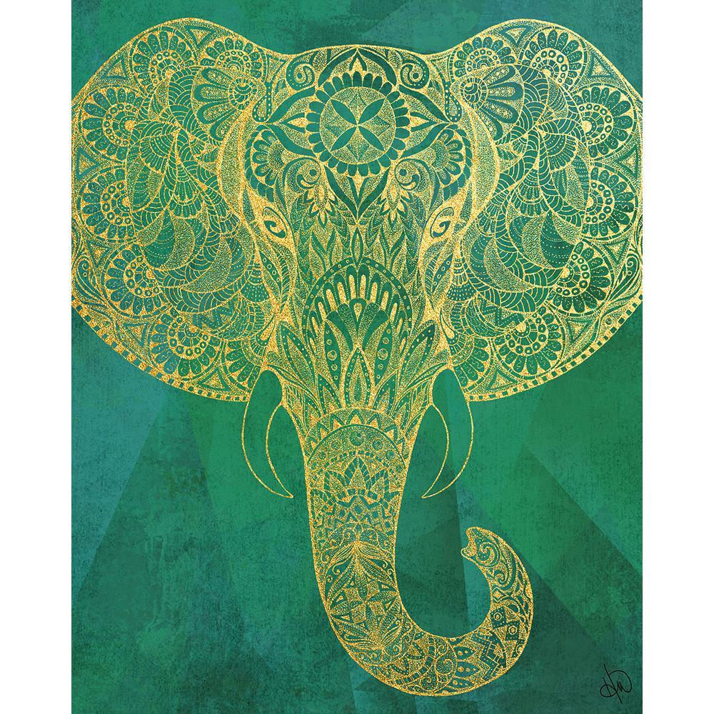 "20 in. x 24 in. ""Mehndi Elephant Head on Green"" Acrylic Wall Art Print"