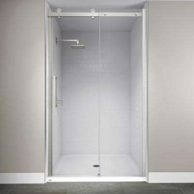 48 in. x 79 in. Semi-Frameless Exposed Sliding Shower Door in Brushed Nickel
