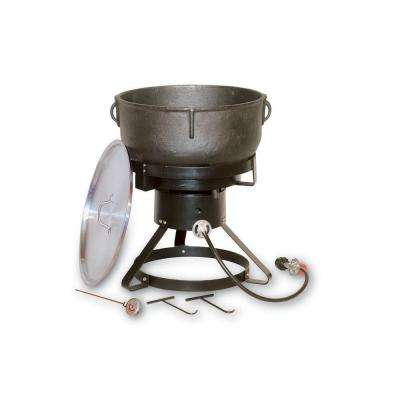60,000 BTU Portable Propane Gas Outdoor Cooker with 10 gal. Cast Iron Jambalaya Pot