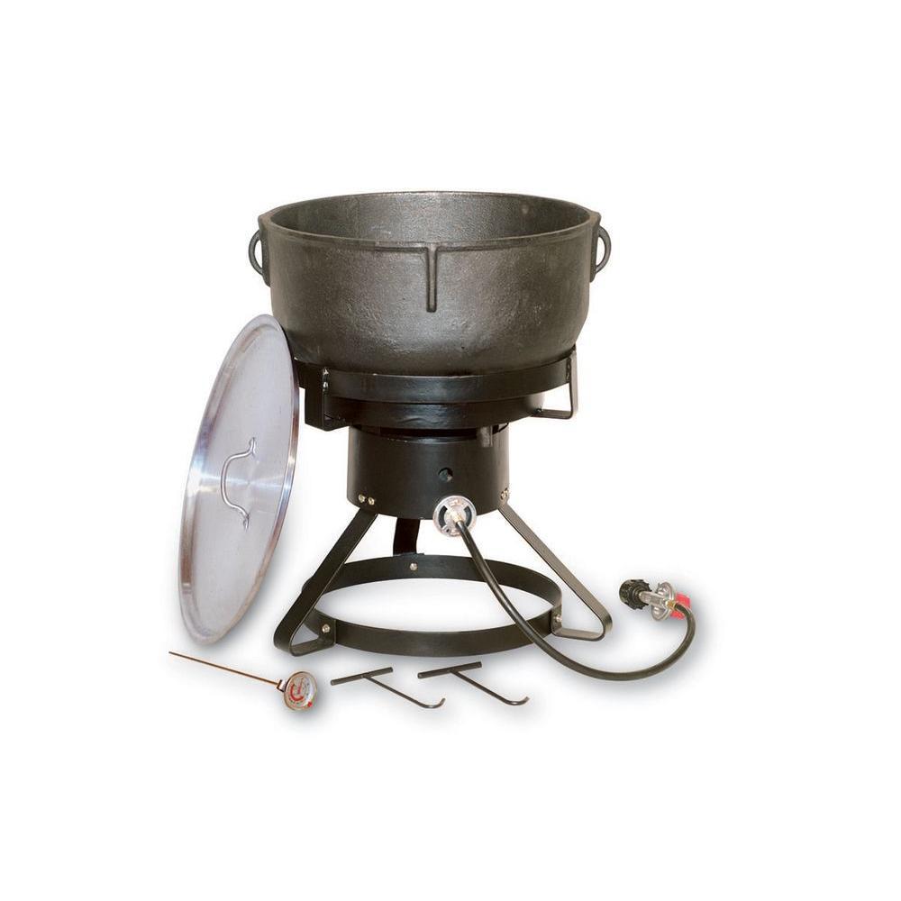 60,000 BTU Portable Propane Gas Outdoor Cooker with 10 gal. Cast Iron Jambalaya Pot