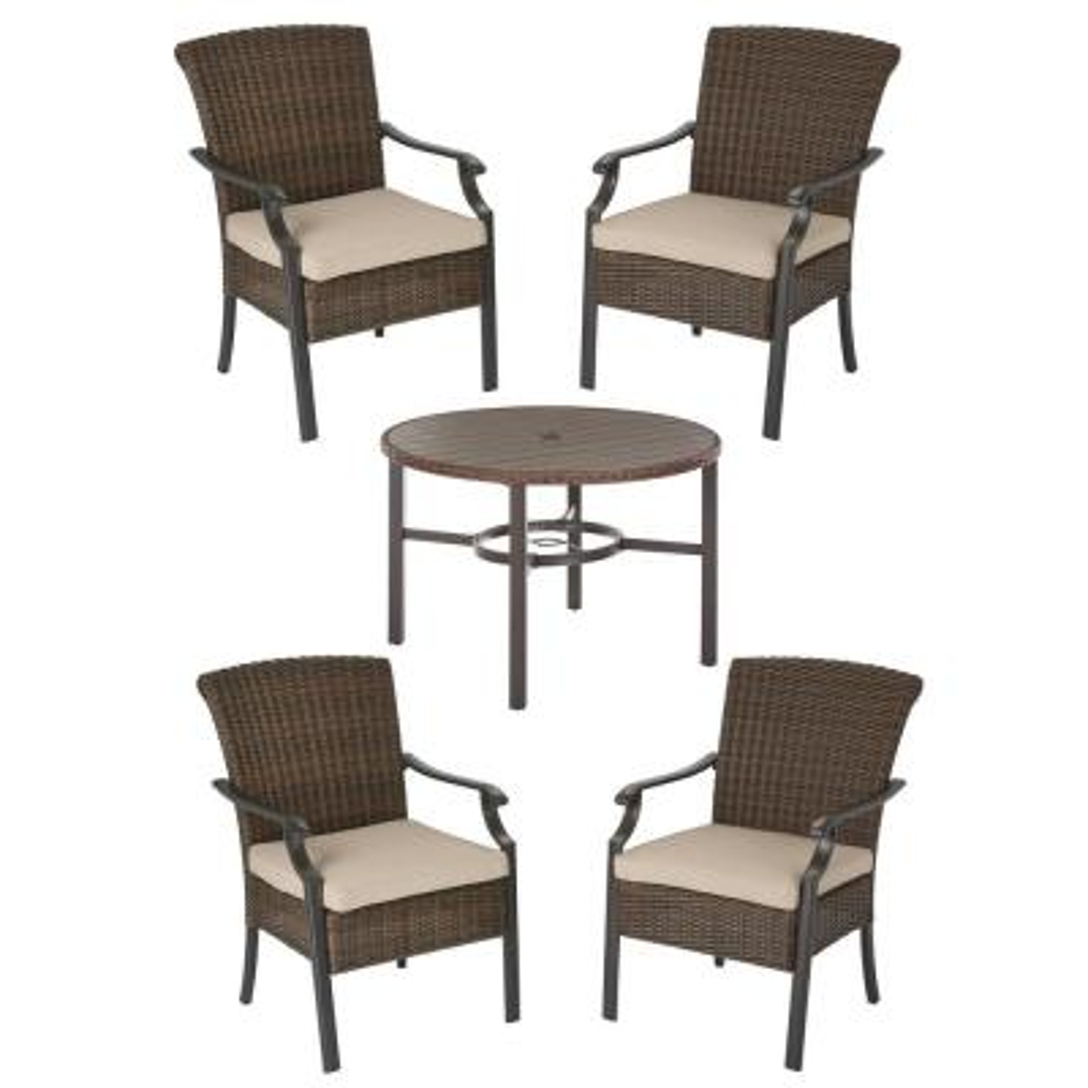 Hampton Bay Harper Creek Brown 5-Piece Steel Outdoor Patio Dining Set with Sunbrella Beige Tan Cushions