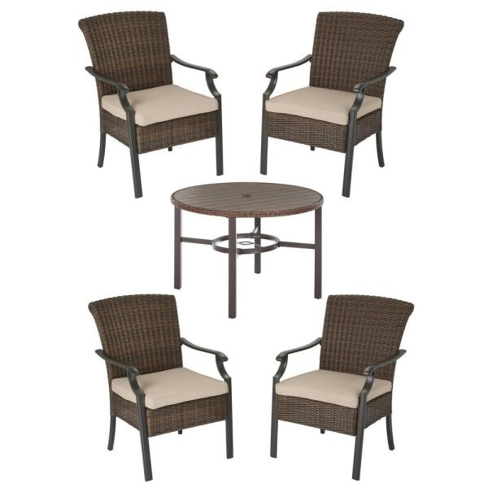 Harper Creek Brown 5-Piece Steel Outdoor Patio Dining Set with Sunbrella Beige Tan Cushions