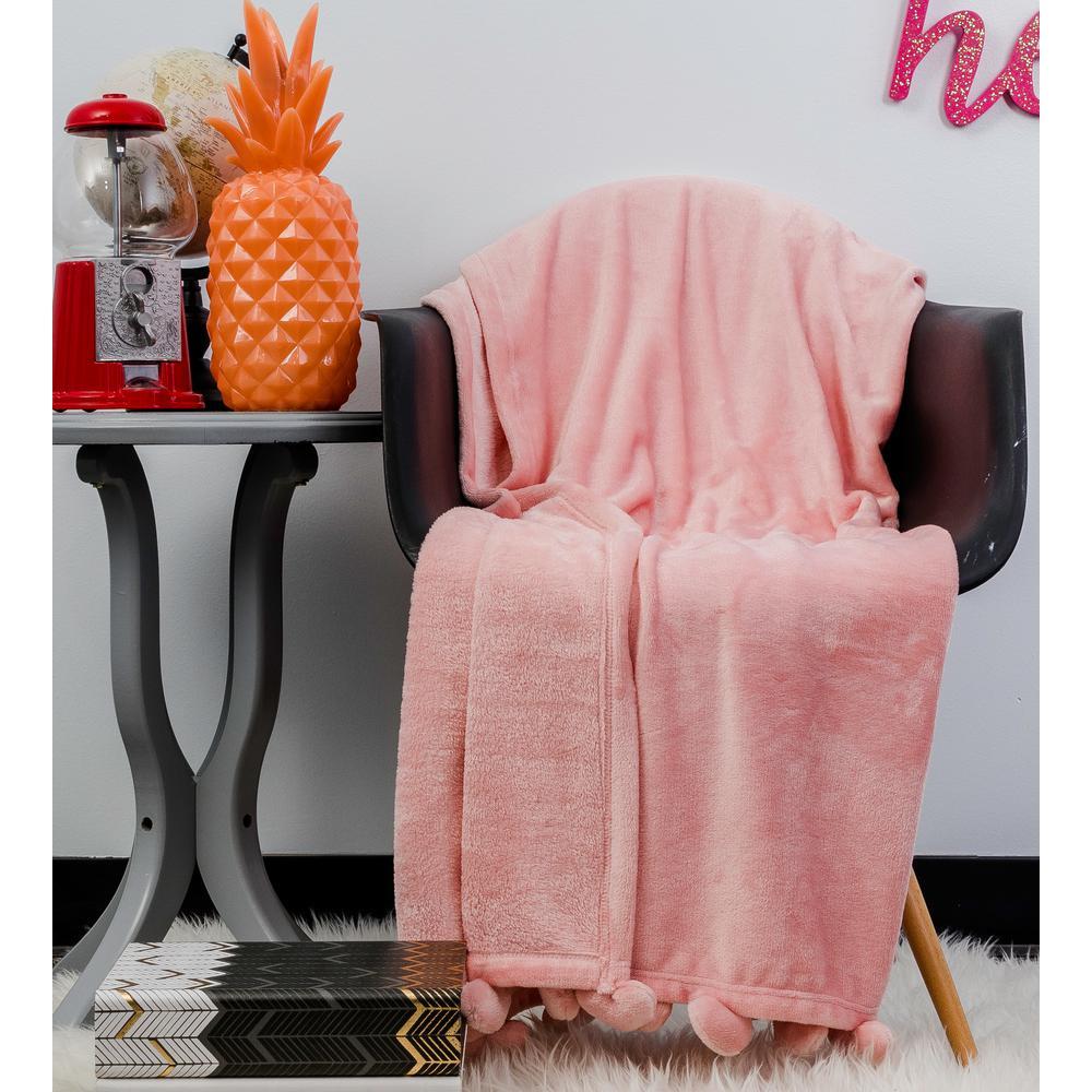 Misha Pretty Pink Heart Pom Pom Throw