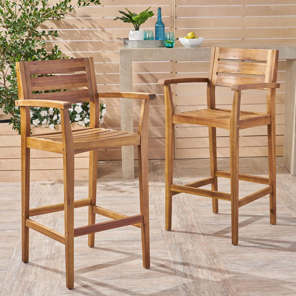 Marvelous Noble House Stamford Teak Brown Wood Outdoor Bar Stool 2 Pack Bralicious Painted Fabric Chair Ideas Braliciousco
