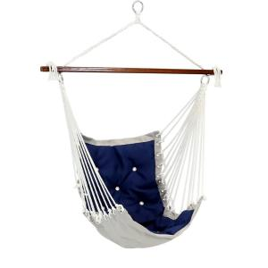Tufted Victorian Hammock Chair Swing, Sturdy 300 lbs. Weight Capacity in Navy Blue
