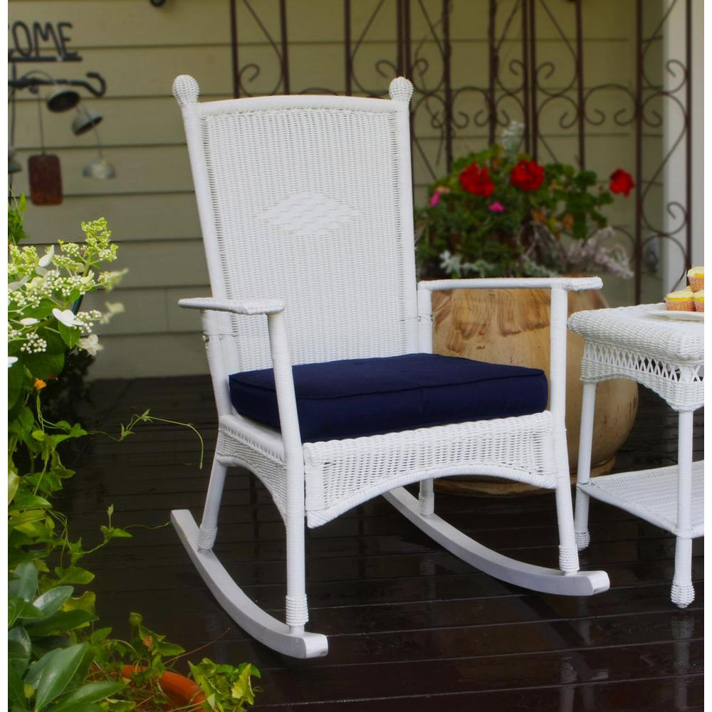 Tortuga Outdoor Portside Clic Rocking Chair White Wicker With Blue Cushion