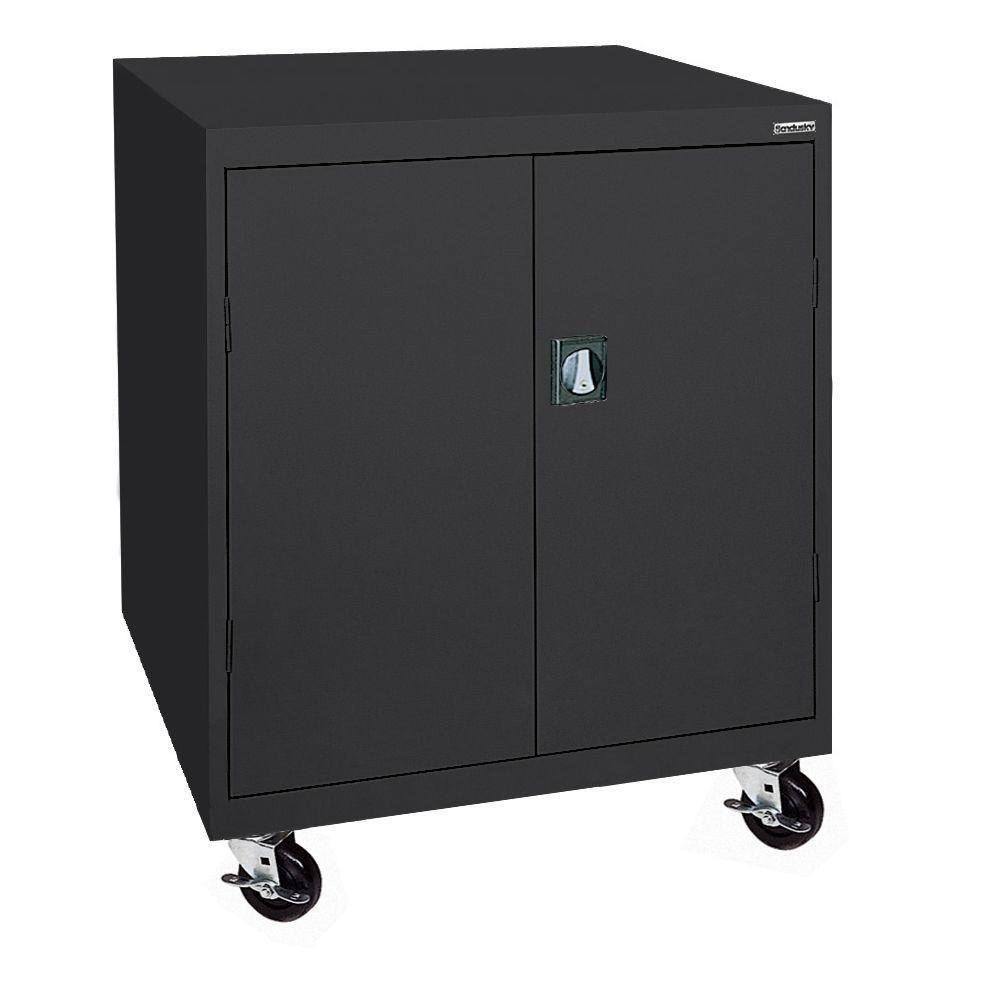48 in. H x 46 in. W x 24 in. D Mobile Steel Transport Cabinet in Black