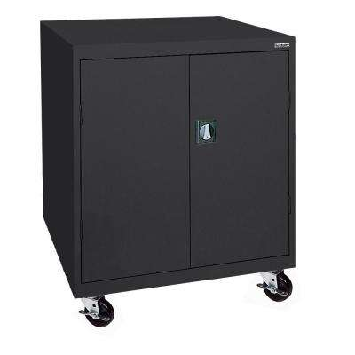 48 in. H x 46 in. W x 24 in. D Mobile Steel Transport Cabinet in Black