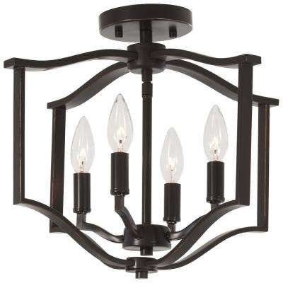 Elyton 4-Light Downtown Bronze with Gold Highlights Semi-Flush Mount