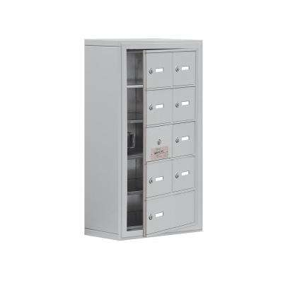 19100 Series 17.5 in. W x 31 in. H x 9.25 in. D 8 Doors Cell Phone Locker Surface Mount Keyed Lock in Aluminum