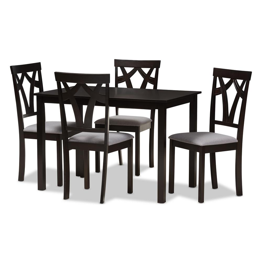 Baxton Studio Sylvia 5 Piece Grey And Dark Brown Dining Set 8028 8026 HD    The Home Depot